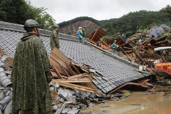 Sauvetage par les forces d'auto-défense dans les zones sinistrées