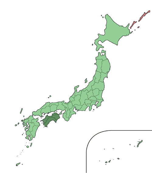Carte du Japon - Shikoku