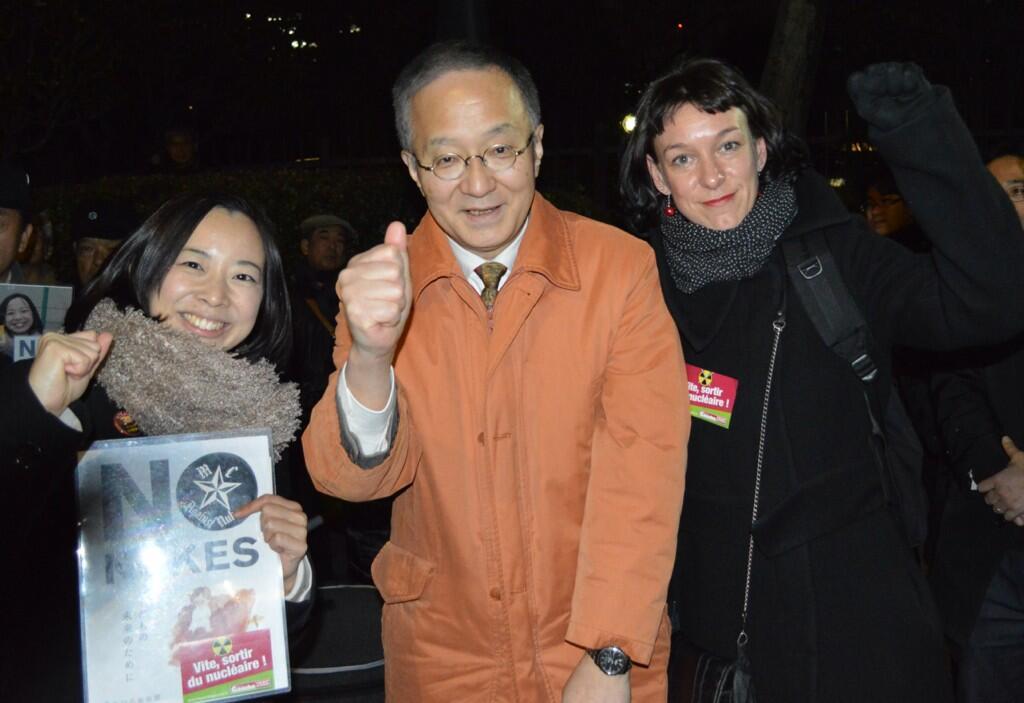 Corinne Morel Darleux avec les parlementaires PCJ Yoshiko Kira et Akira Kasai