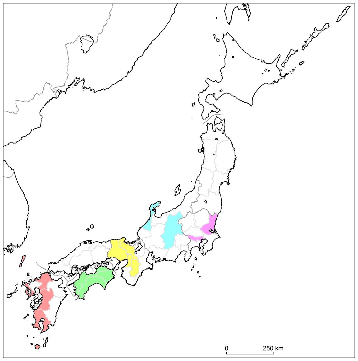 Carte du voyage au Japon en janvier 2017